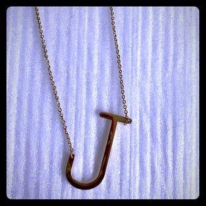 Monogram pendant necklace initial J Anthropologie
